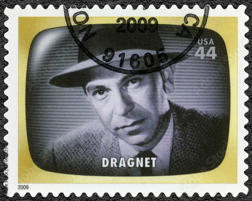 USA - 2009: shows Dragnet, detectiv, Early TV Memory Canvas Print
