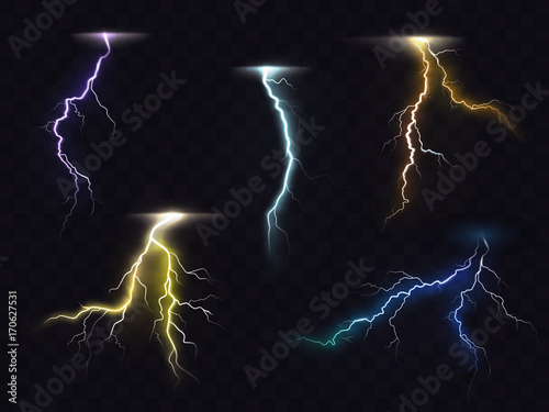 Colored Lightning Bolt Vector Set On Transpa Background Electric Discharges Thunderbolt Glowing Realistic Light Effects