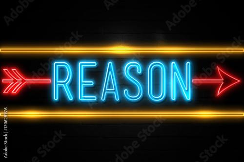 Fotografía  Reason  - fluorescent Neon Sign on brickwall Front view