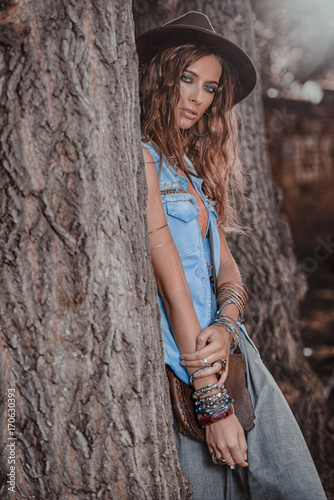 Poster Gypsy blue jeans clothes
