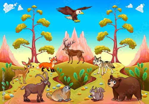 Staande foto Kinderkamer Cute mountain animals in the nature