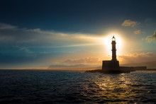 Lighthouse On Sunset. Chania, ...