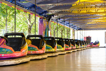 Colorful Dodgem Cars Lined Up ...
