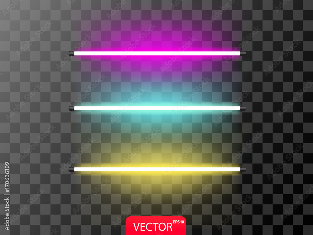 Fototapety, obrazy: Realistic set of neon line in violet? blue and yellow color. Vector illustration on transparent background.