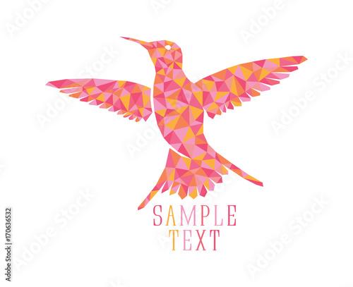 Poster Geometrische dieren bird colibri