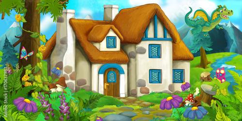 Kreskówki scena smoka latanie blisko wioski - ilustracja dla dzieci