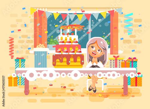 Happy Birthday Cartoon Girl Gift St Marie Nk Eve Laer