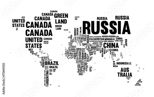 text-country-name-world-map-typography-design