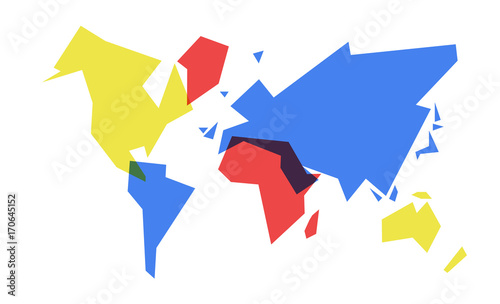 Fotografía Colorful world map abstract geometry illustration