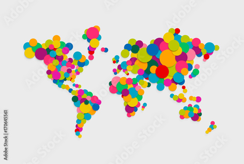 Fotografie, Obraz  Circle world map modern color concept illustration