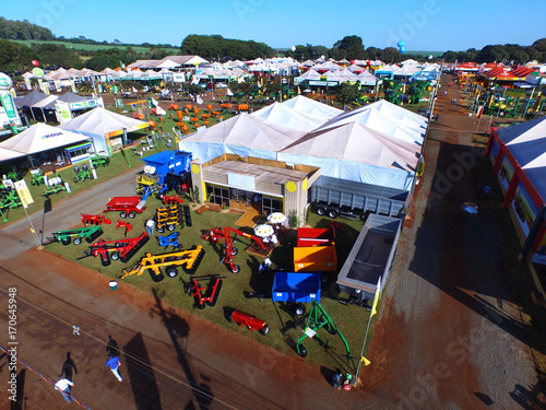 Fotografia SAO PAULO, BRAZIL - May 1, 2017: Aerial view of Agrishow, 24th International Trade Fair of Agricultural Technology taking place in Ribeirao Preto