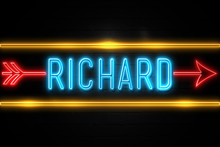 Richard  - Fluorescent Neon Sign On Brickwall Front View