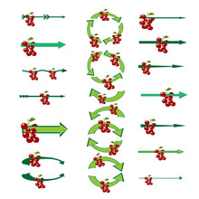 Green Arrows. Set Of Creative Colored Vector Arrows With Berries. Original Arrow-shaped Elements With A Berries. Vector Illustration.