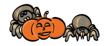Spiders With A Jack-o-Lantern