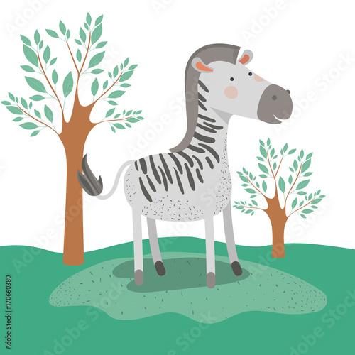 Fototapeta zebra animal caricature in forest landscape background vector illustration