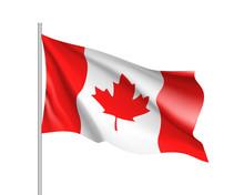 Waving Flag Of Canada. Illustr...