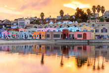 Capitola Village Sunset Vibrancy. Esplanade, Capitola, Santa Cruz County, California, USA.