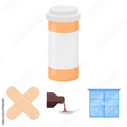 Photo Syrup in a spoon, plaster, honey, medical cabinet
