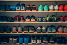 Athletic Shoes On A Shelf At T...