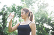 Young asian lady exercise outdoor