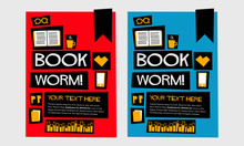 Book Worm! (Flat Style Vector Illustration Reading Quote Poster Design)