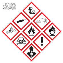 Pictogrammes Danger GHS. Warn...