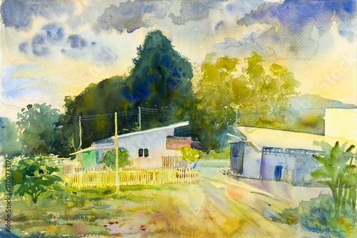 Fotobehang Zwavel geel Watercolor landscape original painting colorful of countryside market