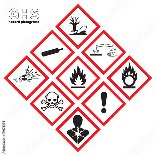 Valokuva  GHS Danger icon set: Physical hazards signs