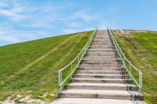 Stairway To The Top Of Mount Trashmore, In Virginia Beach, Virginia.  It Is The Site Of A Former Landfill Which Was Converted To A City Park In 1974.