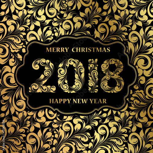 happy new year card with khohloma style golden pattern on black background and sign 2018