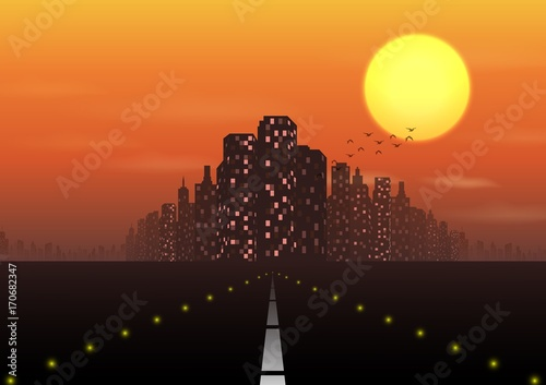 Fototapeta Road to the city at sunset background