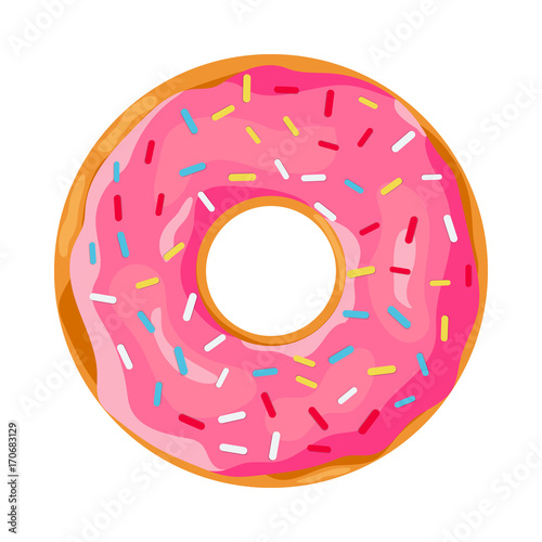 donut with pink glaze. Canvas Print