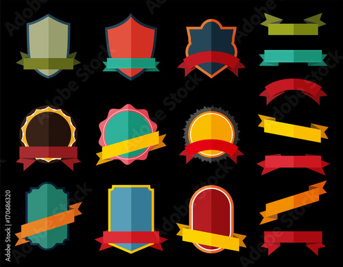 Set of Vector Badge with ribbon, Retro Labels and Ribbons