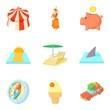 Thrift-box icons set, cartoon style