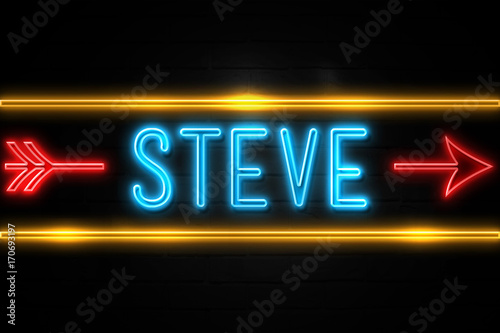 Fotografie, Obraz  Steve  - fluorescent Neon Sign on brickwall Front view