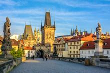 Prague's Main Sights At Dawn: Lesser Town Bridge Towers On Charles Bridge And Prague Castel. Czech Republic, Bohemia