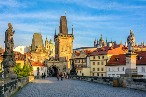 Prague's main sights at dawn: Lesser Town Bridge Towers on Charles Bridge and Prague castel Canvas Print
