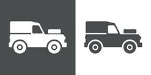 Icono Plano Land Rover Gris Y Blanco