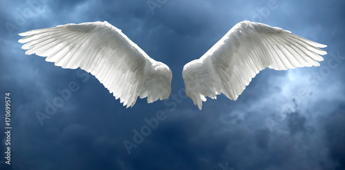 Fényképezés  Angel wings with stormy sky background