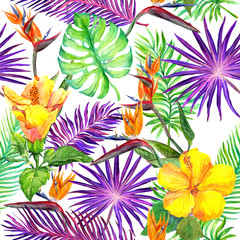 Tropical leaves, exotic flowers. Seamless jungle pattern. Watercolor