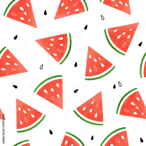 Cotton fabric Seamless pattern with watermelons. Watermelon slices isolated on white background. Illustration painting