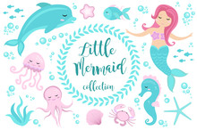 Cute Set Little Mermaid And Un...