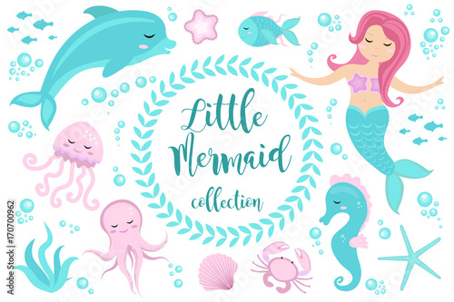 Photographie  Cute set Little mermaid and underwater world