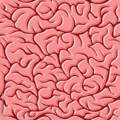 Seamless pattern with brains Vector Wall mural