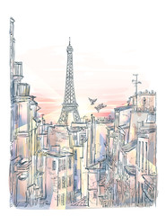 Fototapetavector Paris Roof