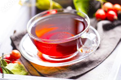 Tea vitamins freshness drink wooden background Canvas Print