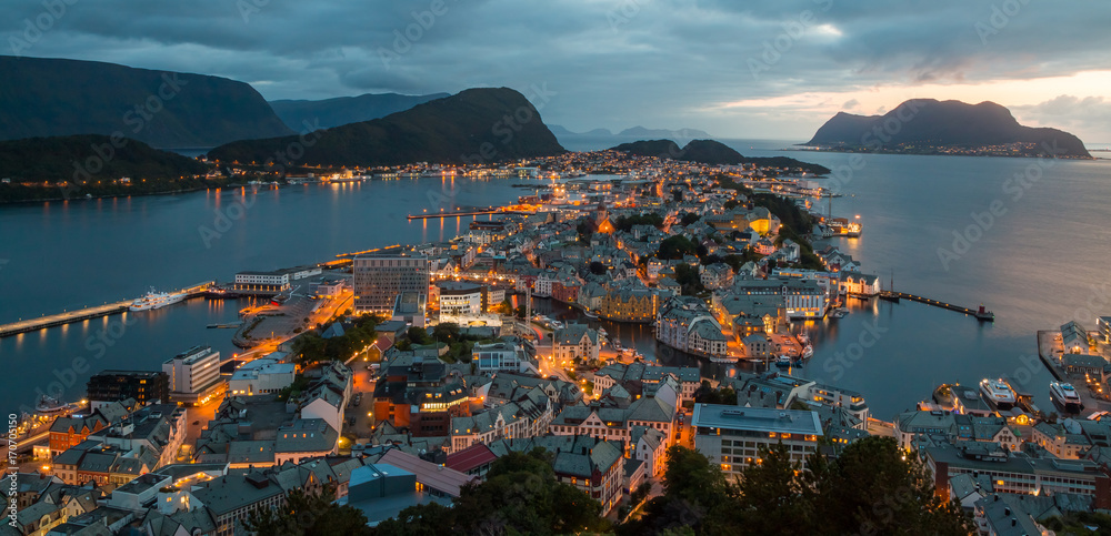 Alesund, Norway. Cityscape image of Alesund, Norway at sunset.