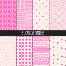 Set Of Eight Pink Patterns