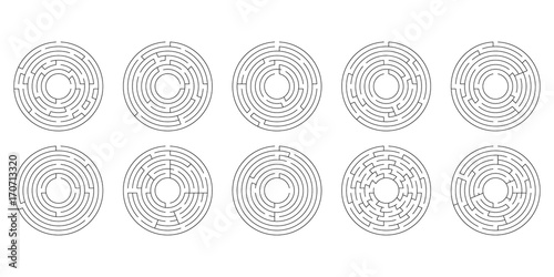 Cuadros en Lienzo vector illustration of a set of ten circular mazes for kids on a