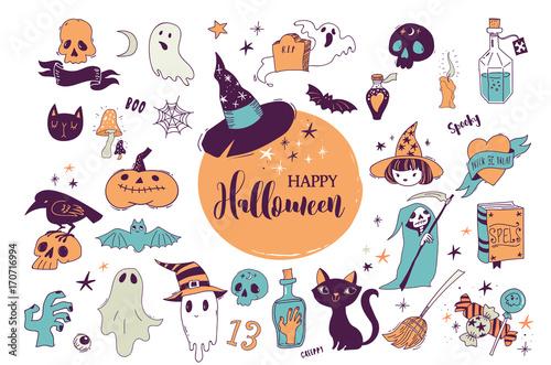 Spoed Fotobehang Halloween Halloween party, hand drawn modern cards, illustrations set